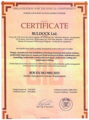 SERTIFICATE BULDOCK ISO 9001-2015